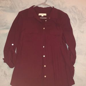 Women's Burgundy Button Down Loft Dress shirt